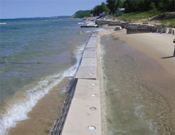 Sandsaver beach erosion barrier, sand saver, sandsavers installed, Installed Beach Erosion barrier