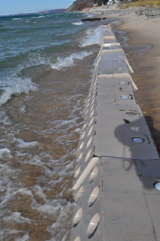 Sandsavers installed, Installed Sandsavers, Sandsavers building Beach, Sandsaver installation